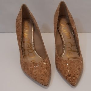 Sam Edelman Gold Flecked Cork Heels